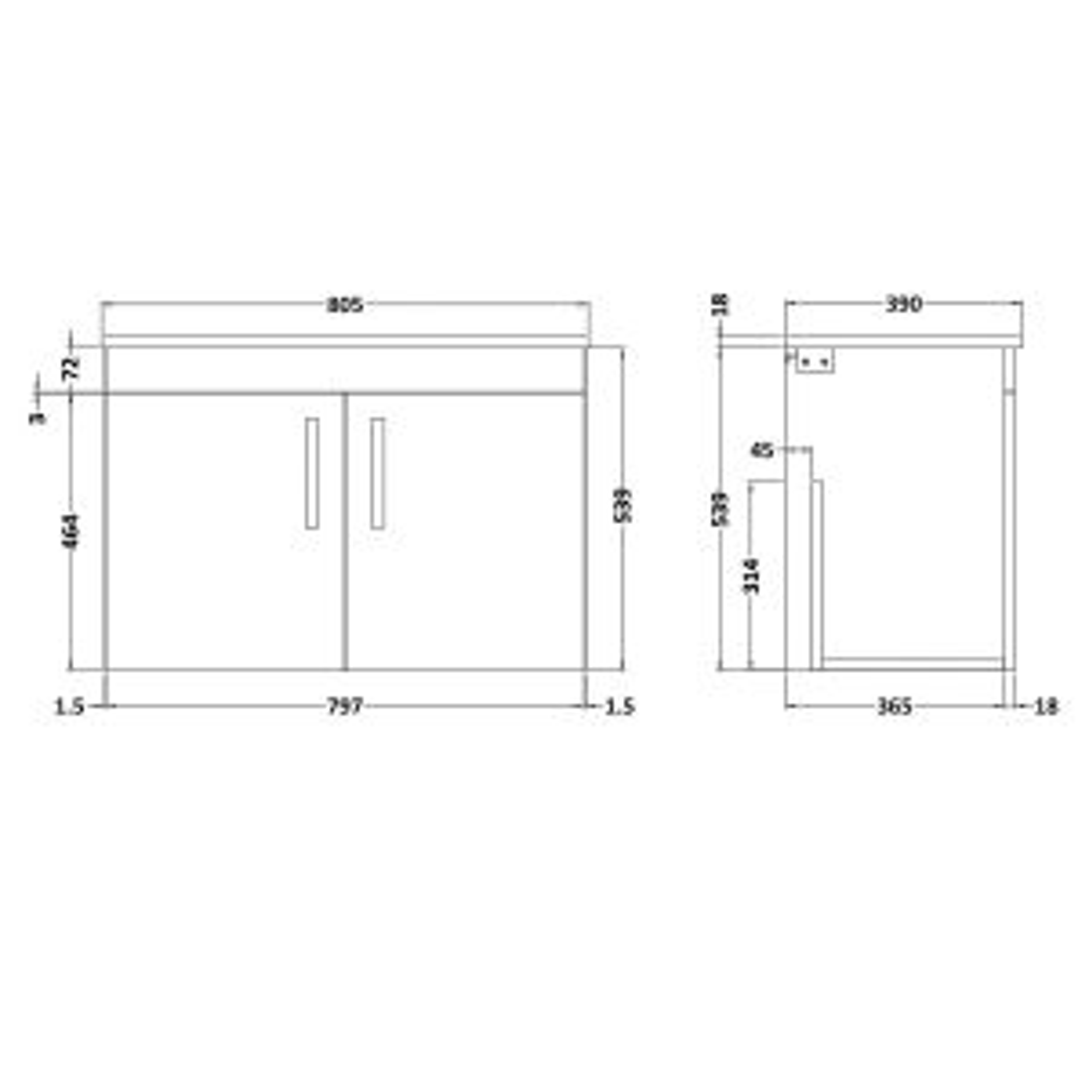 Nuie Athena Natural Oak 2 Door Wall Hung Vanity Unit with 18mm Worktop 800mm Line Drawing
