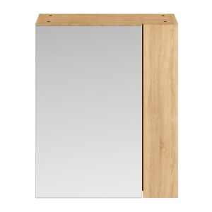 Nuie Athena Natural Oak Double Mirrored Bathroom Cabinet 600mm