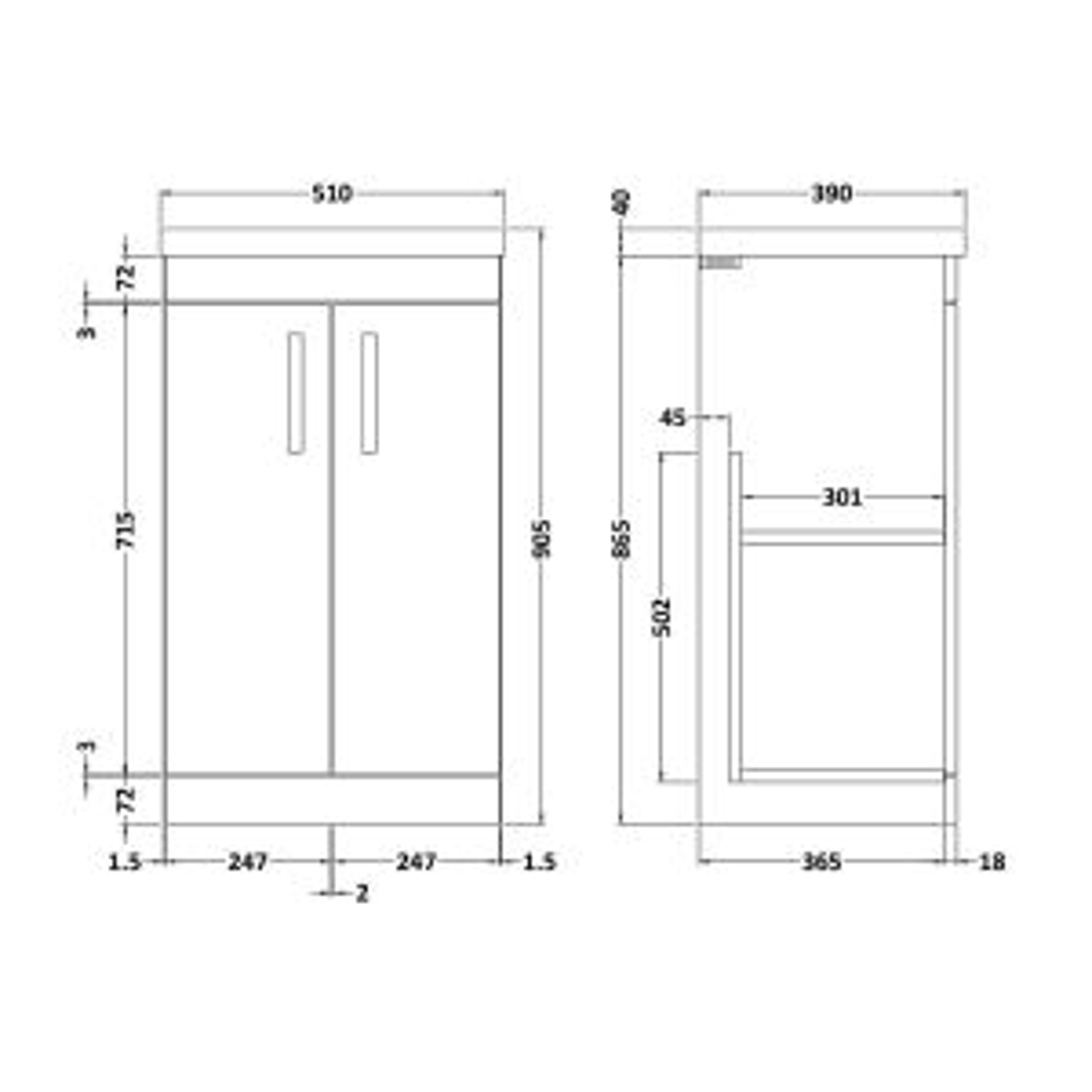 Nuie Athena Natural Oak 2 Door Floor Standing Vanity Unit with 40mm Profile Basin 500mm Line Drawing