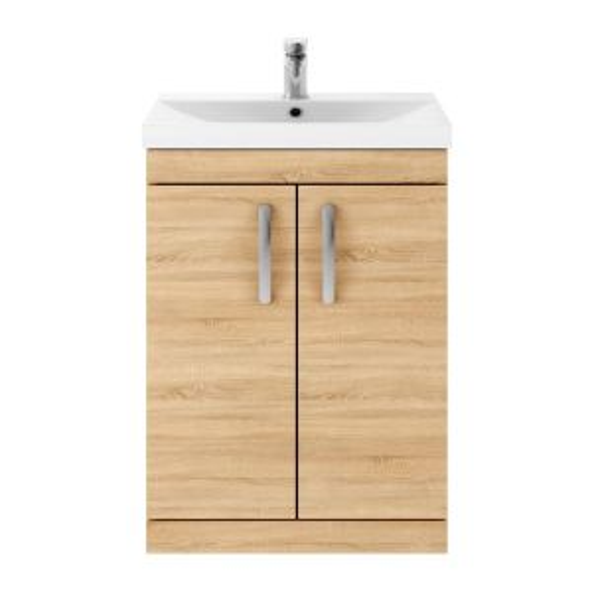 Nuie Athena Natural Oak 2 Door Floor Standing Vanity Unit with 50mm Profile Basin 500mm