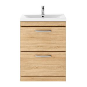 Nuie Athena Natural Oak 2 Drawer Floor Standing Vanity Unit with 40mm Profile Basin 600mm