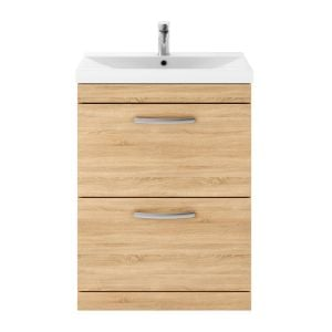Nuie Athena Natural Oak 2 Drawer Floor Standing Vanity Unit with 50mm Profile Basin 600mm