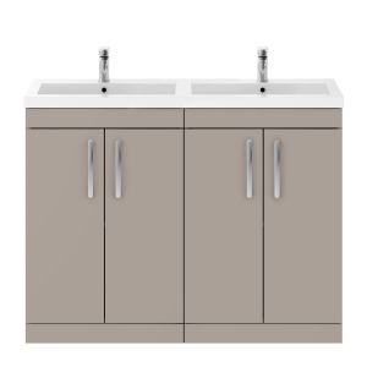 Nuie Athena Stone Grey 4 Door Floor Standing Vanity Unit with Polymarble Double Basin 1200mm