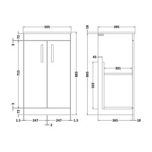 Nuie Athena Gloss White 2 Door Floor Standing Vanity Unit with 18mm Profile Basin 500mm Line Drawing