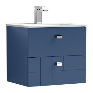 Nuie Blocks Satin Blue 2 Drawer Wall Hung Vanity Unit with 18mm Profile Basin 500mm