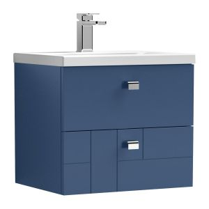 Nuie Blocks Satin Blue 2 Drawer Wall Hung Vanity Unit with 40mm Profile Basin 500mm