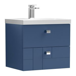 Nuie Blocks Satin Blue 2 Drawer Wall Hung Vanity Unit with 50mm Profile Basin 500mm