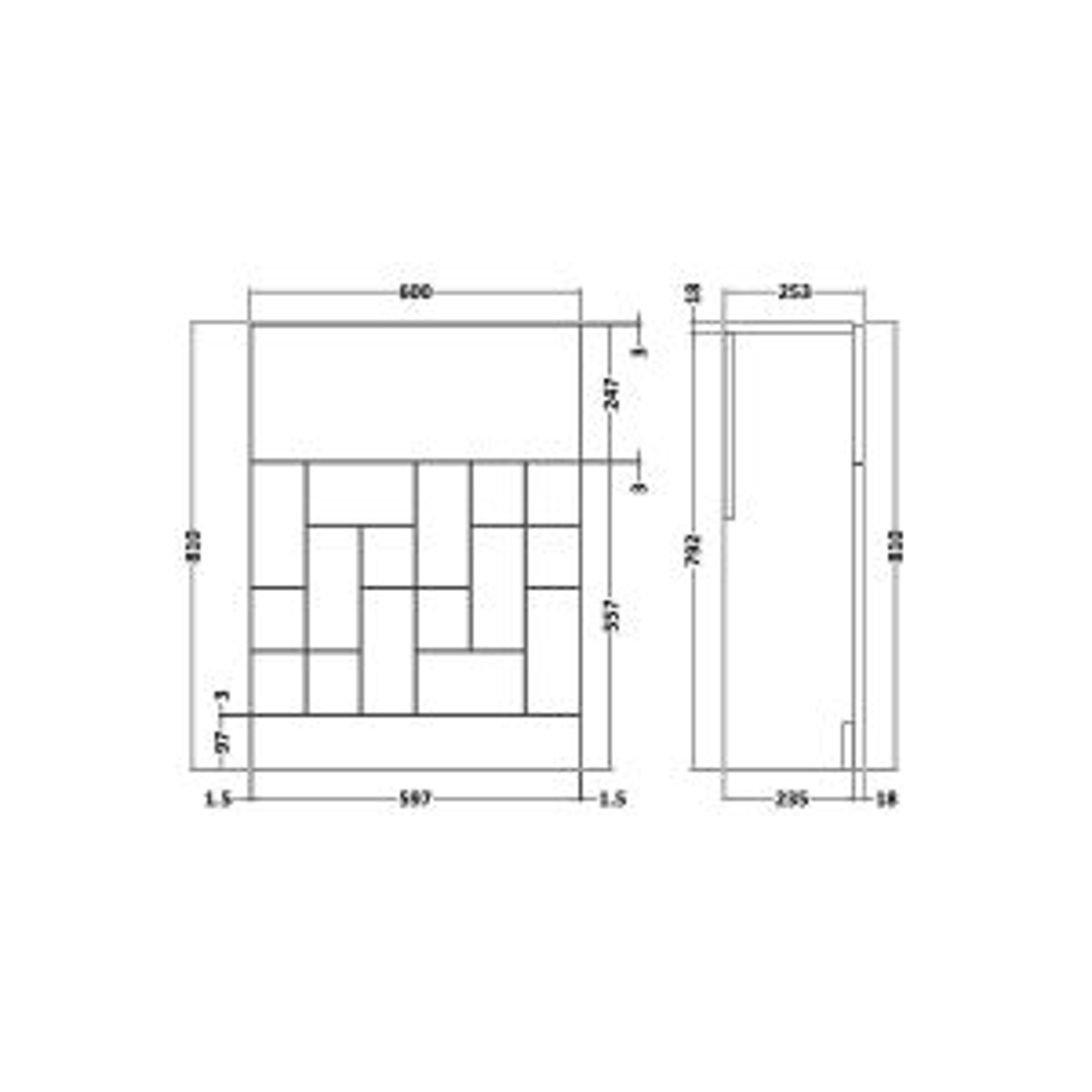 Nuie Blocks Satin Blue Toilet WC Unit 600mm Line Drawing