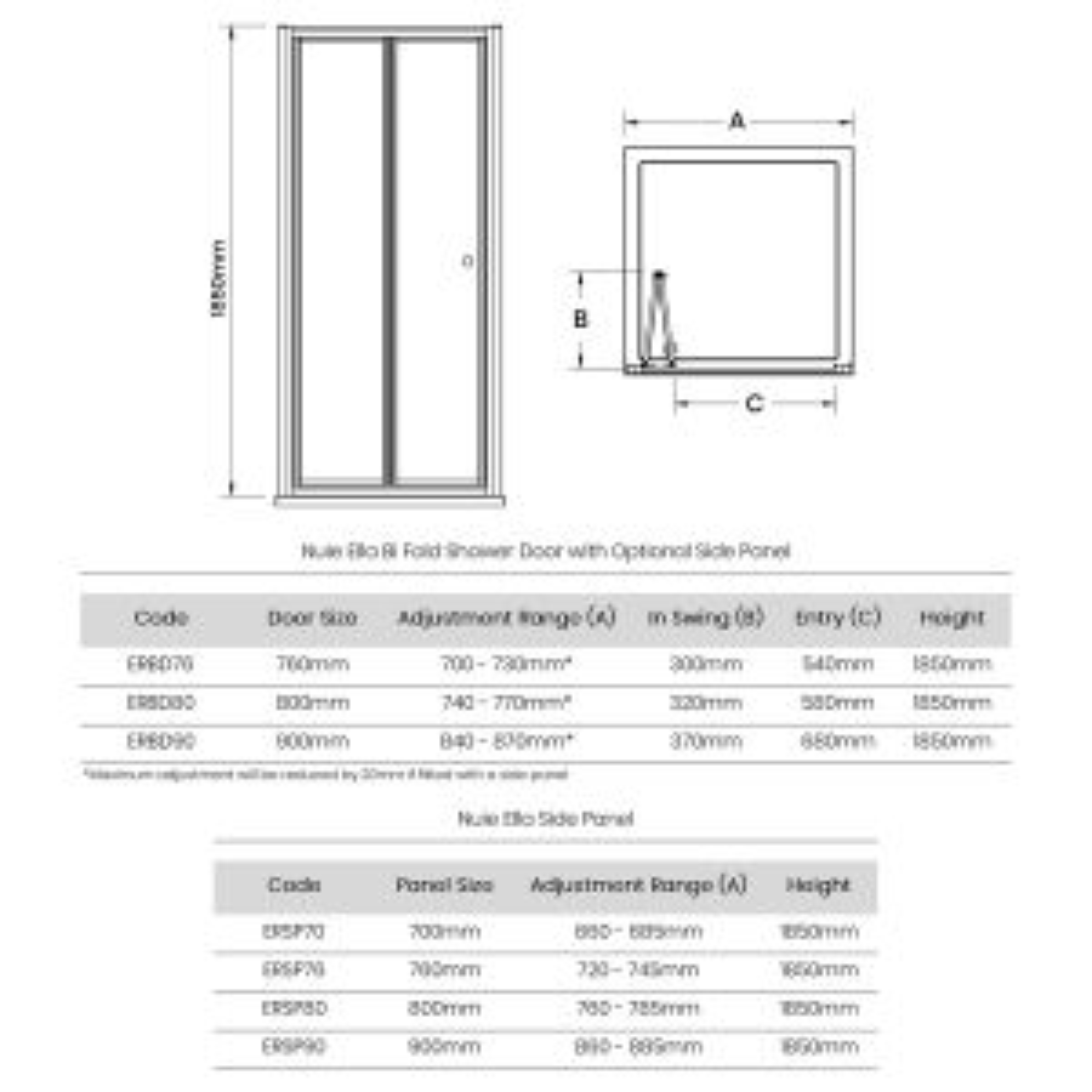 Premier Ella Bi Fold Shower Enclosure Dimensions
