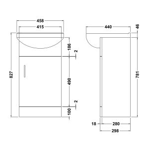 Nuie Deluxe High Gloss White Vanity Unit 450mm Dimensions