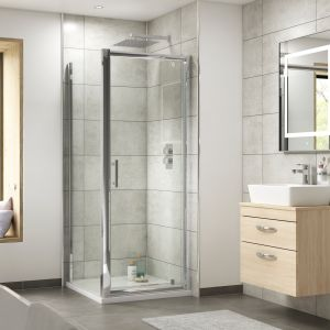 Nuie Pacific Pivot Shower Door with Optional Side Panel