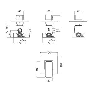 Nuie Windon Chrome Square Concealed Diverter 2/3/4 Way Dimensions