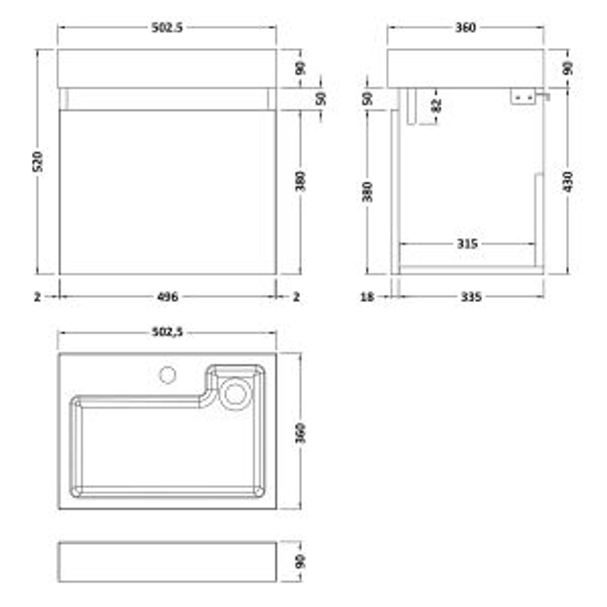 Nuie Merit Gloss Grey Mist Wall Hung Single Door Vanity & Basin 500mm Line Drawing