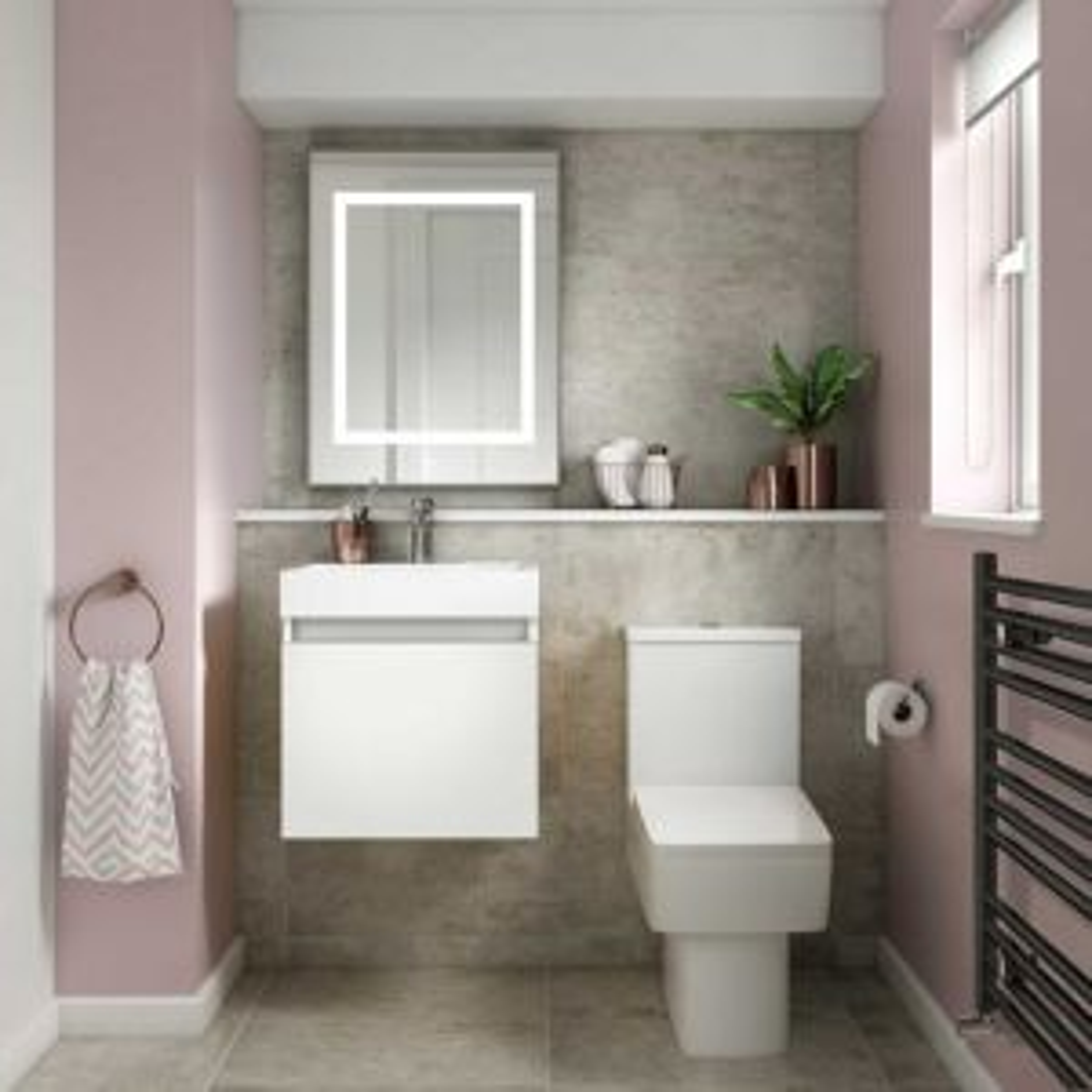 Nuie Merit Gloss White Wall Hung Single Door Vanity & Basin 500mm 1