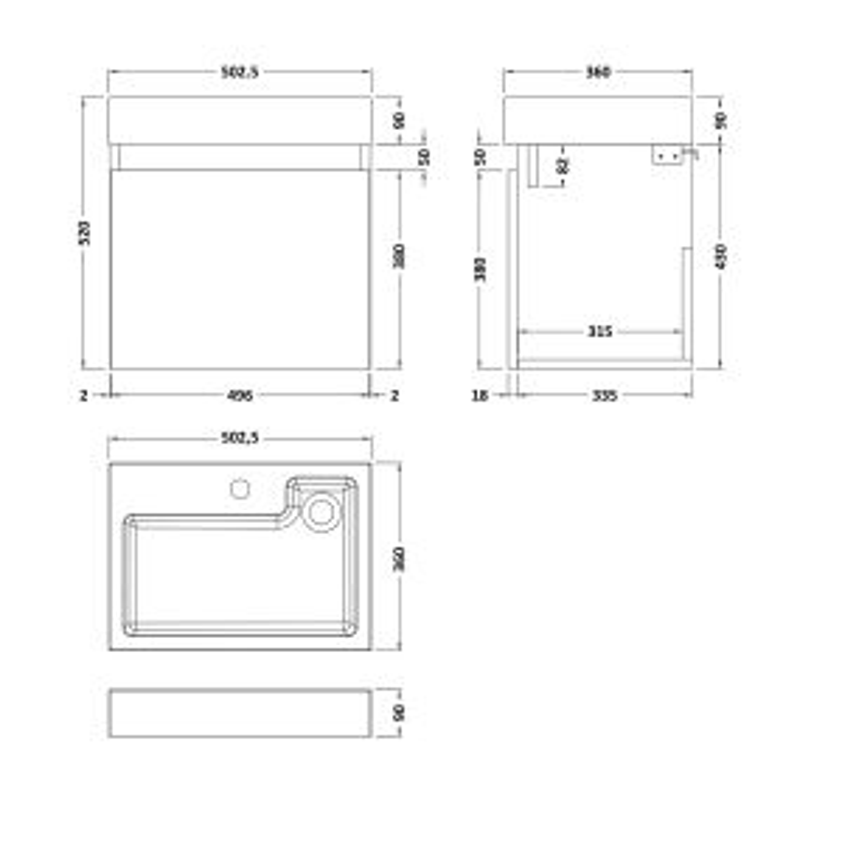 Nuie Merit Gloss White Wall Hung Single Door Vanity & Basin 500mm Line Drawing