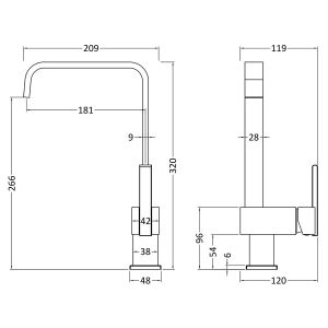 Nuie Square Side Action Kitchen Mixer Tap Line Drawing