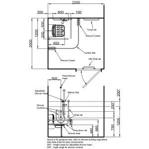 Nymas Concealed Dark Blue Doc M Shower Pack Drawing