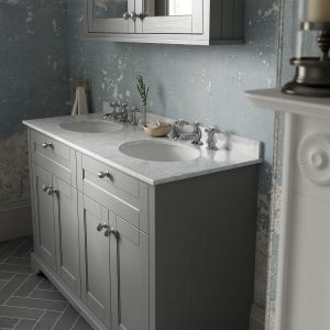 Old London Storm Grey Vanity Unit with Marble Top 1200mm Lifestyle