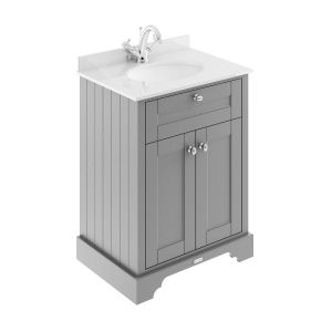 Old London Storm Grey Vanity Unit with White Marble Top 600mm