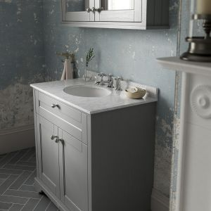 Old London Storm Grey Vanity Unit with White Marble Top 600mm Lifestyle