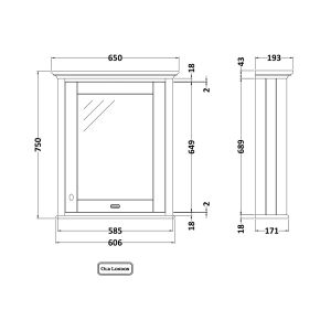 Old London Timeless Sand Mirror Cabinet 600mm Drawing