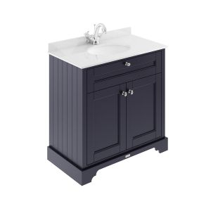 Old London Twilight Blue Vanity Unit with White Marble Top 800mm
