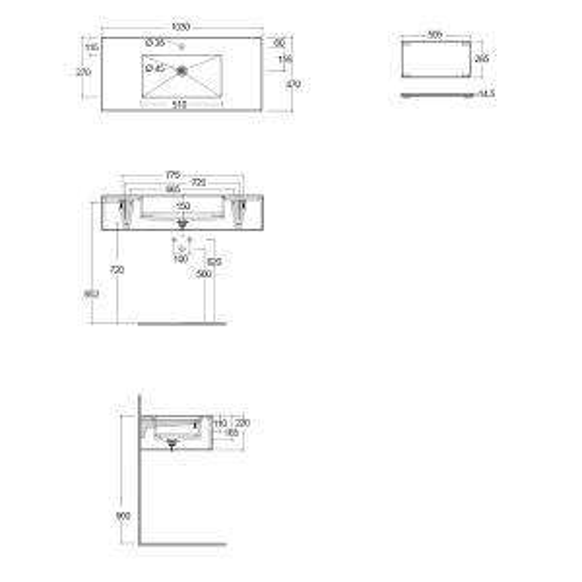 RAK Precious Travertino Ivory Wall Hung Counter Basin 1000mm with Brackets Measurements