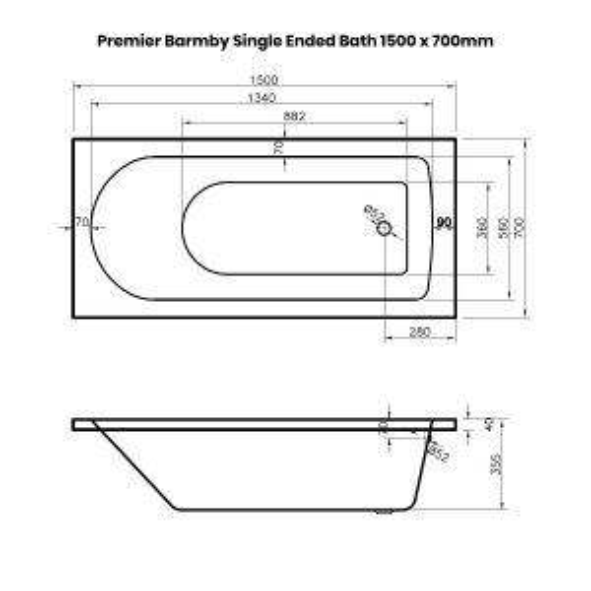 Premier Barmby Single Ended Bath 1500 x 700mm Dimensions