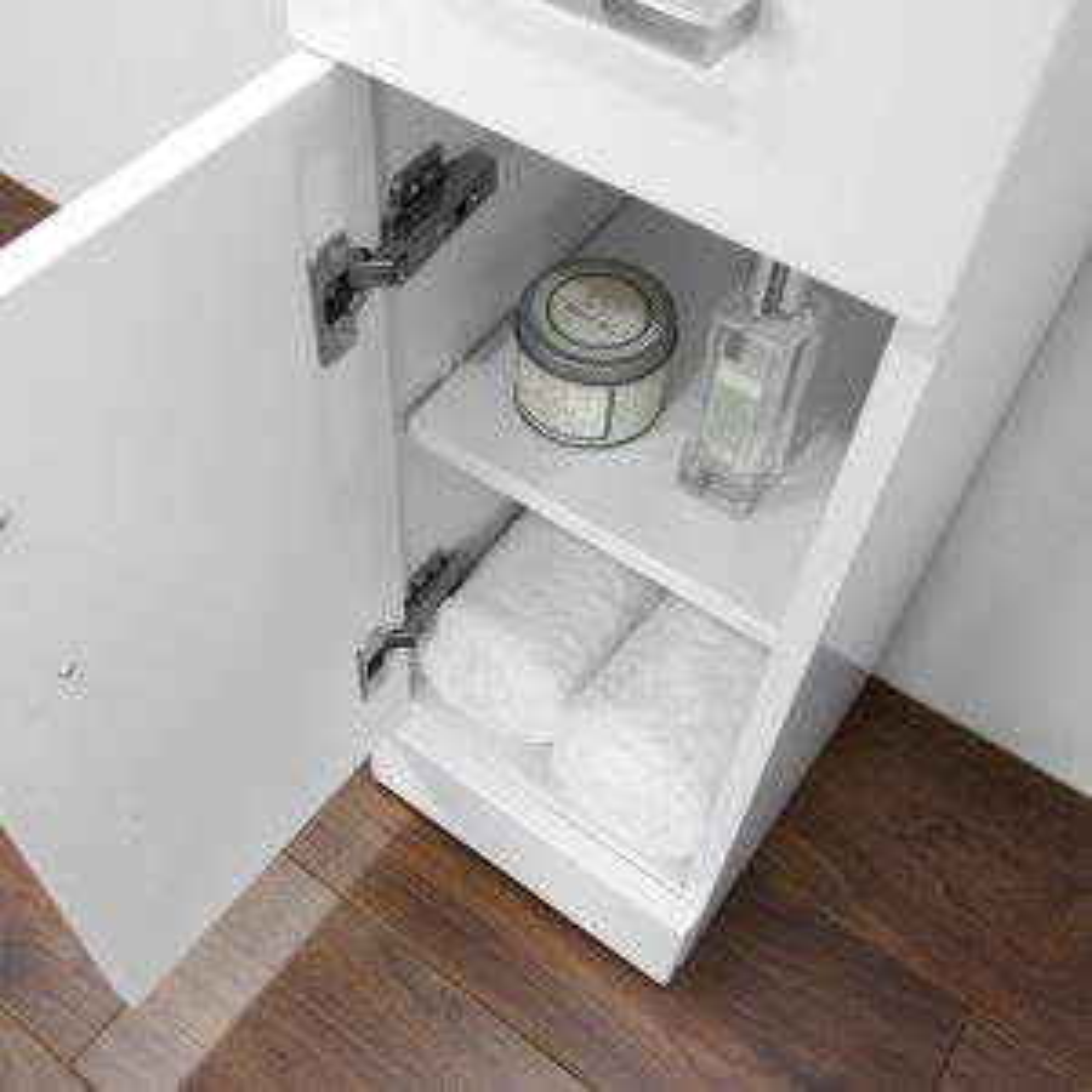 Premier High Gloss White Storage Cupboard Open