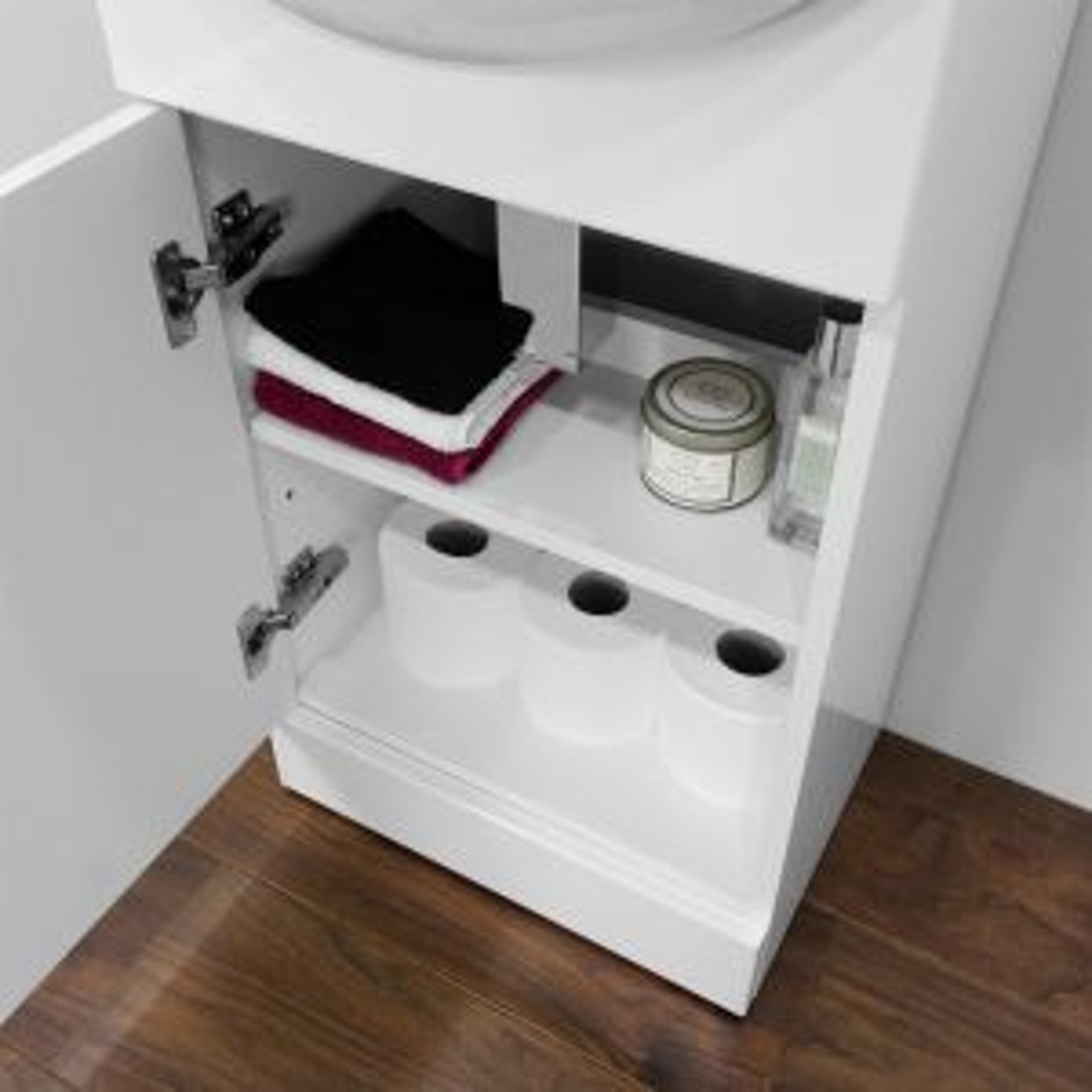 Premier High Gloss White Vanity Unit with Standard Basin 450mm - Storage