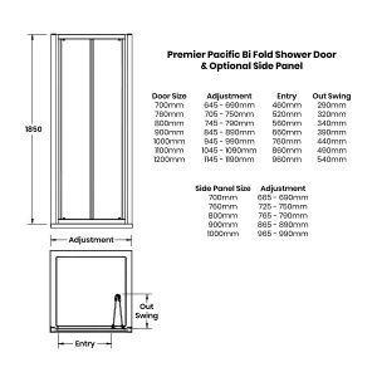 Premier Pacific Bi Fold Shower Enclosure Dimensions