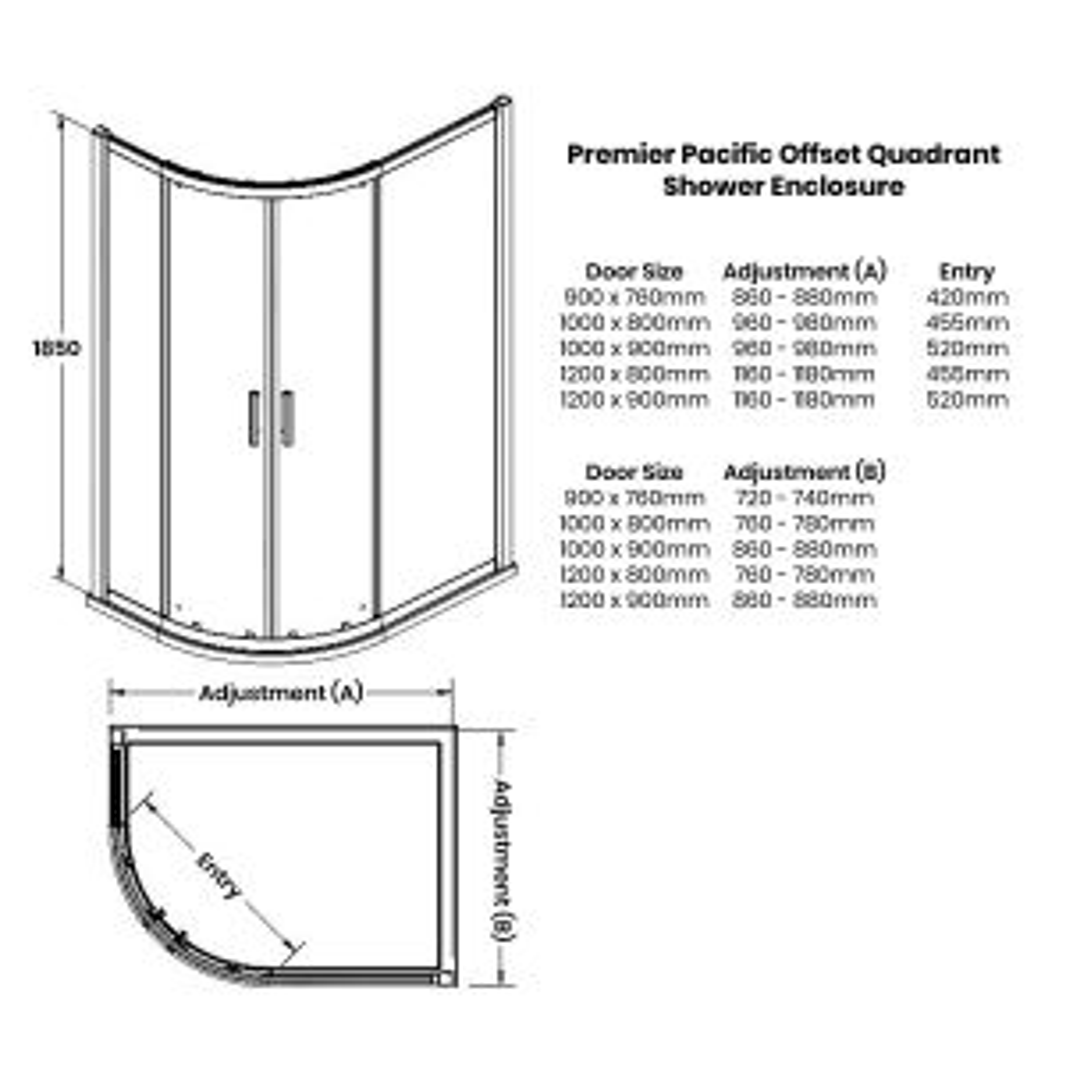 Premier Pacific Offset Quadrant Shower Enclosure Dimensions