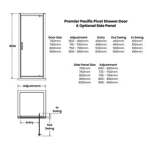 Nuie Pacific Pivot Shower Door with Optional Side Panel Dimensions