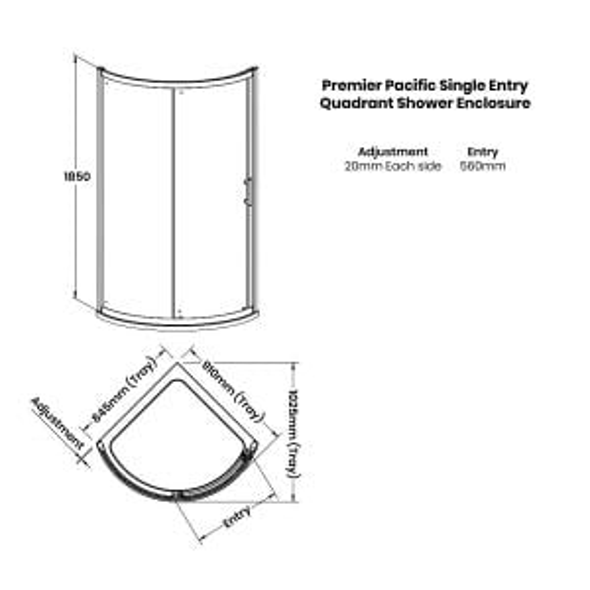 Premier Pacific Single Door Quadrant Shower Enclosure Dimensions