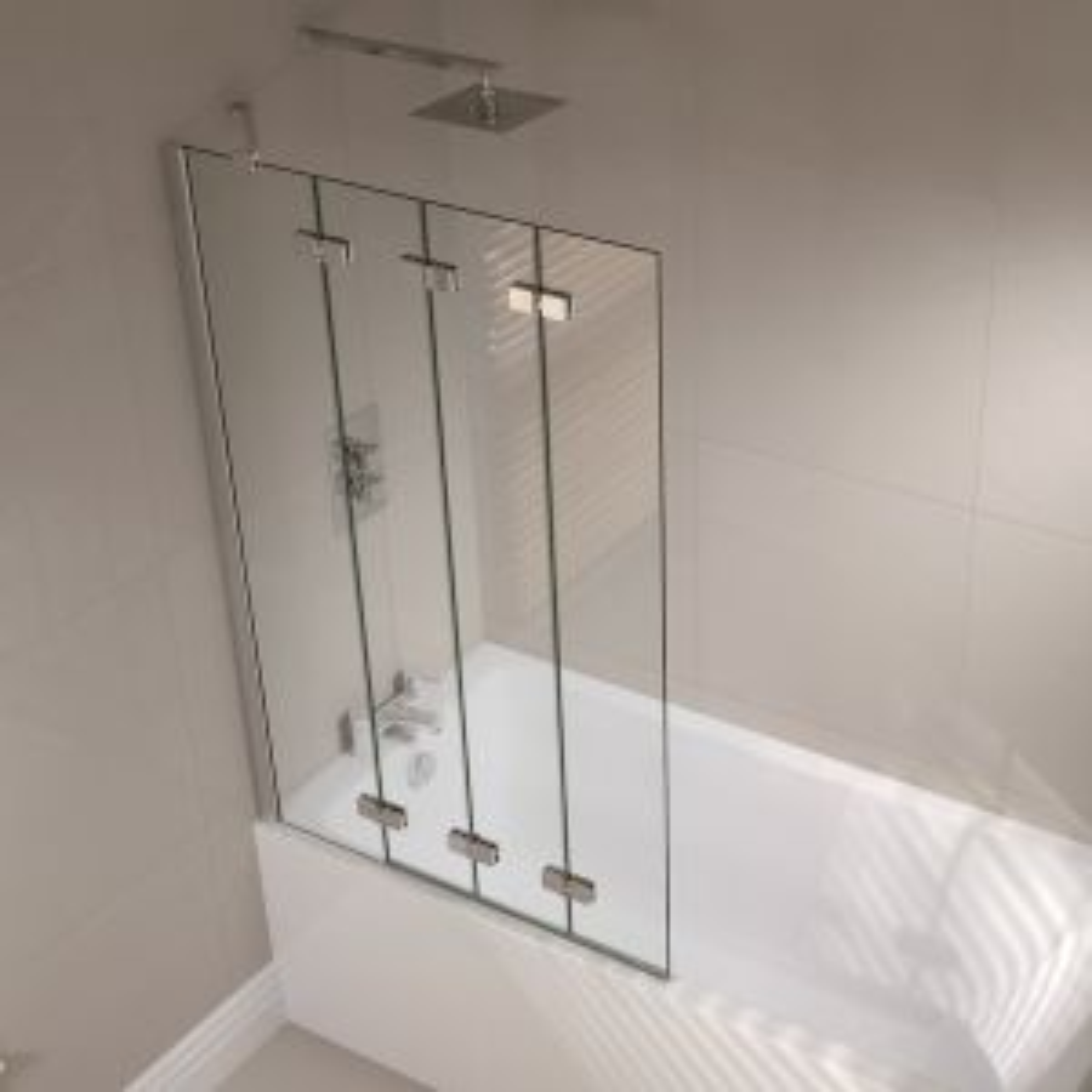 April Prestige Frameless 4 Fold Left Hand Bath Screen