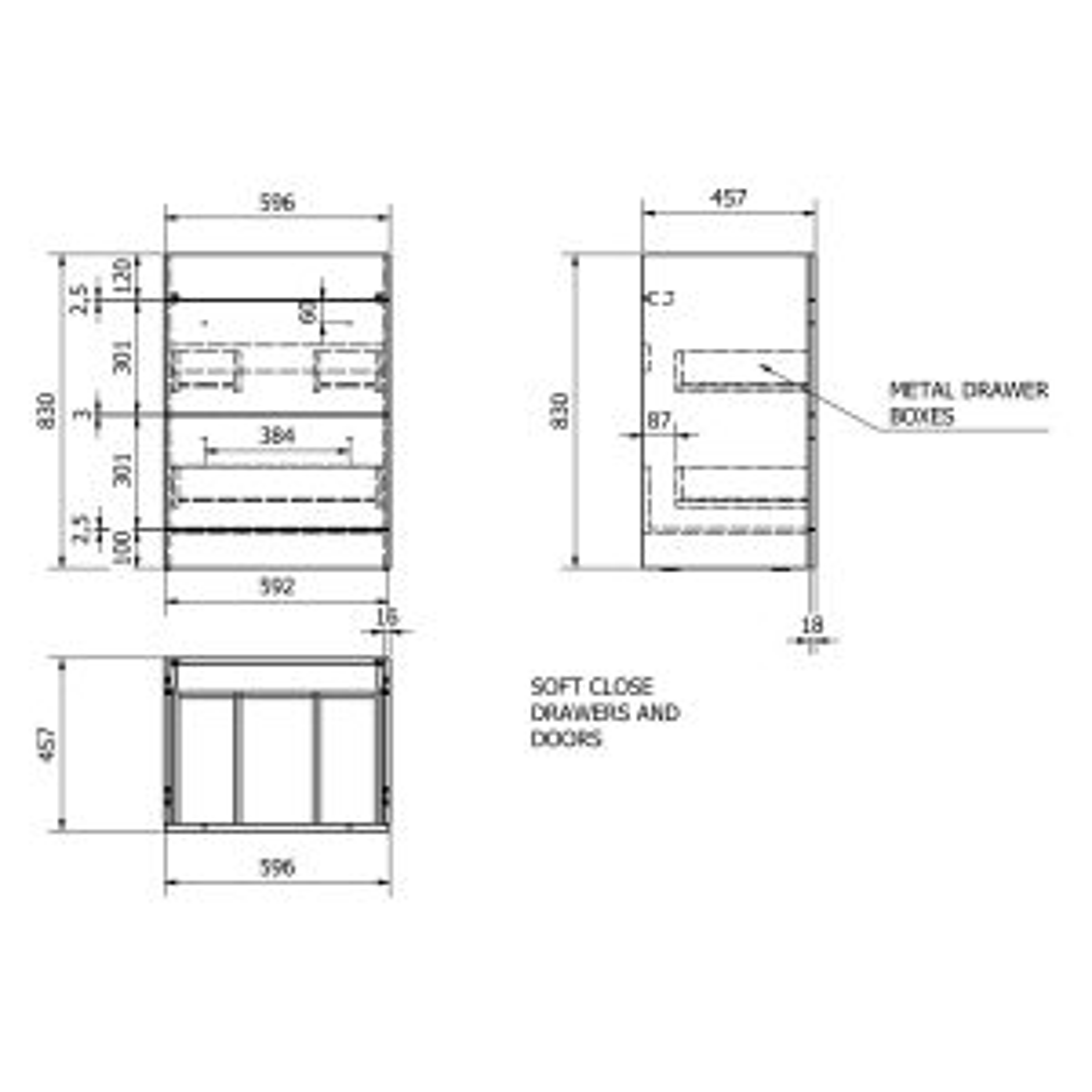Kartell Purity Grey Ash 2 Drawer Floor Standing Vanity Unit 600mm Drawing
