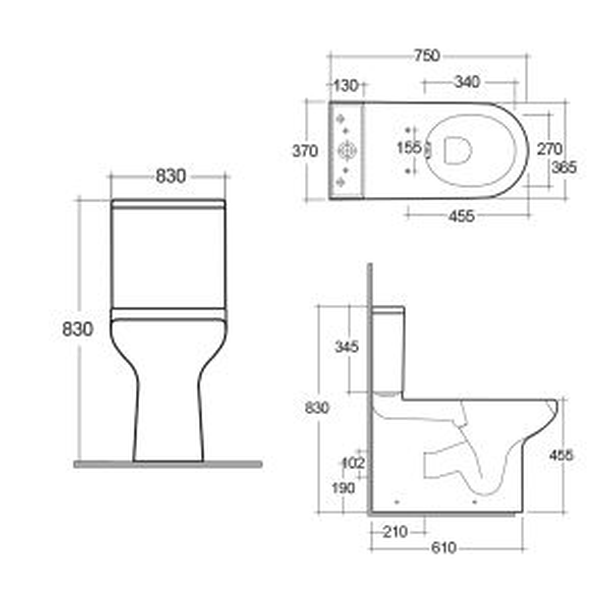 RAK Compact Special Needs Rimless Push Button Close Coupled Toilet Measurements