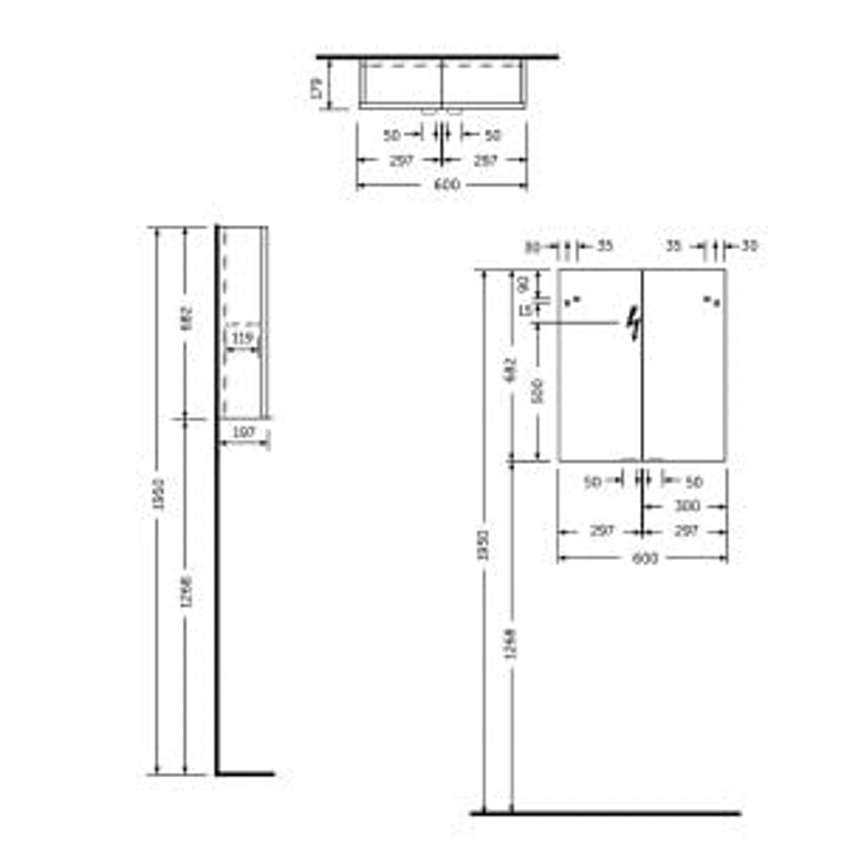 RAK Joy Wall Hung Double Door Mirrored Cabinet 600mm Drawing