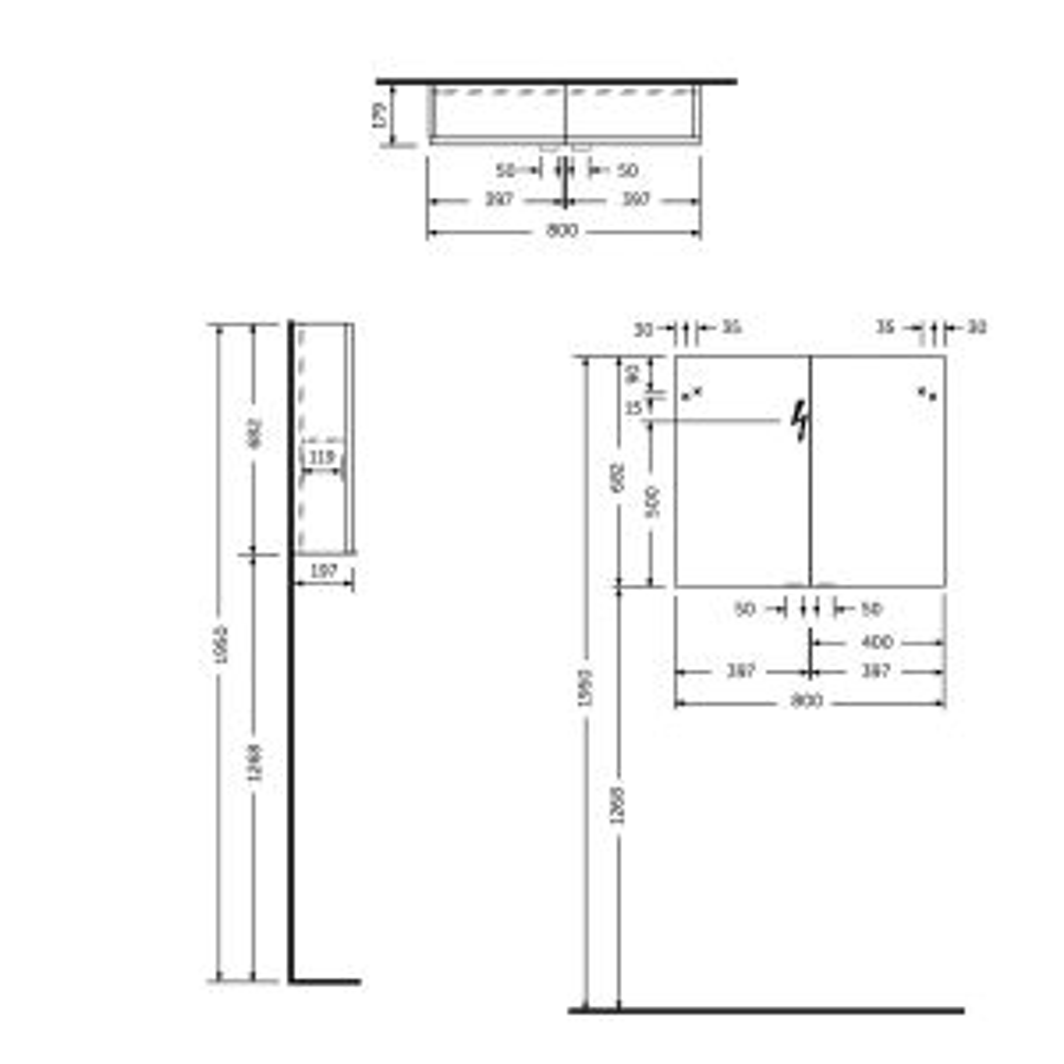 RAK Joy Wall Hung Double Door Mirrored Cabinet 800mm Drawing