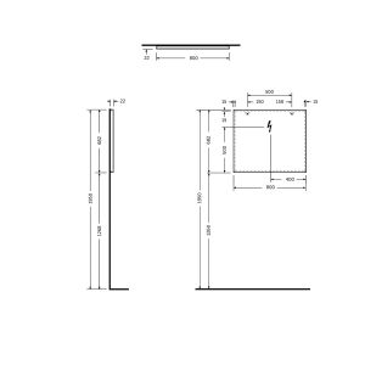 RAK Joy Wall Hung Standard Mirror 800 x 680mm Drawing