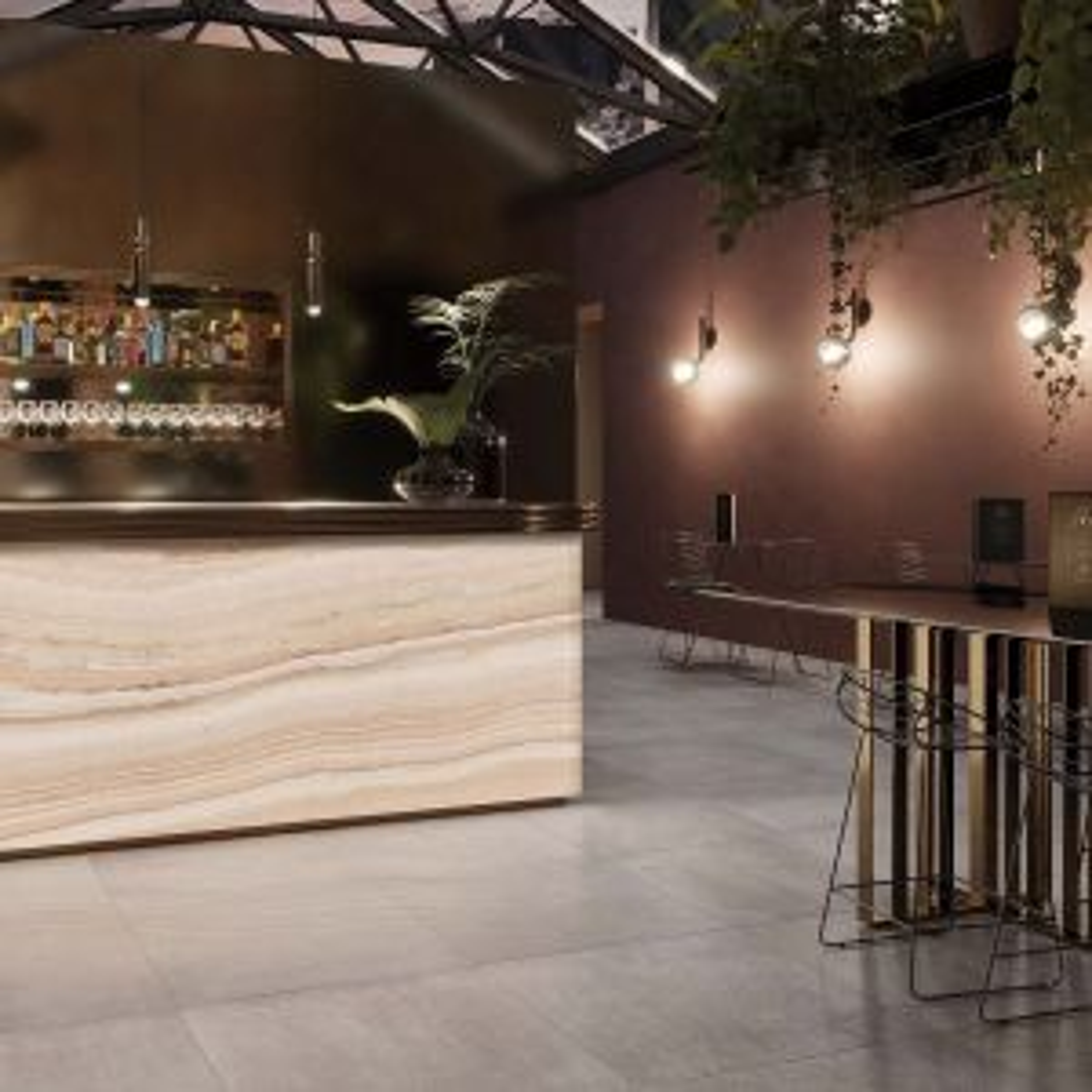 RAK Luce Translucent Onyx Harlequin Full Lappato Tile 1200 x 2600mm Lifestyle