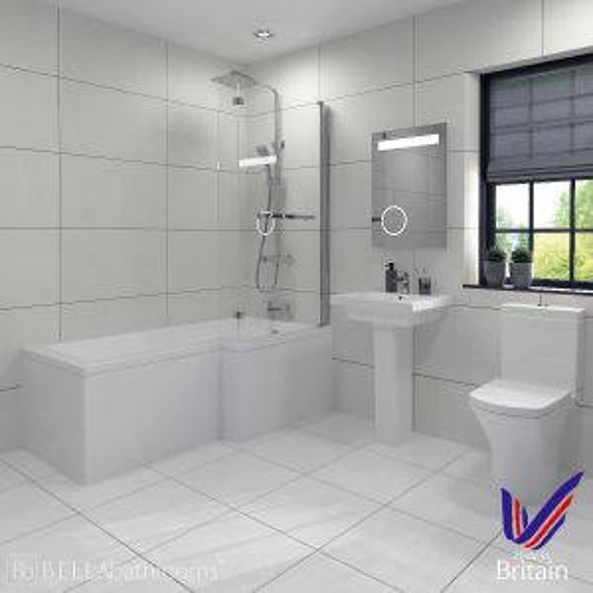 RAK Resort Right Handed L Shaped Shower Bath Suite
