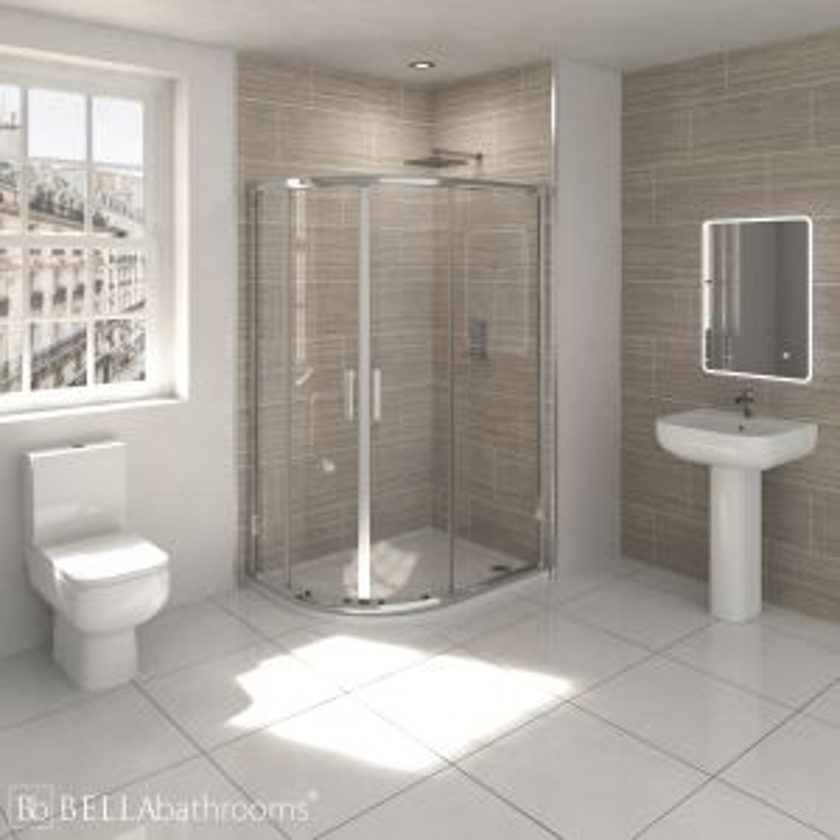 RAK Series 600 En-Suite Bathroom with Pacific Offset Quadrant Shower Enclosure