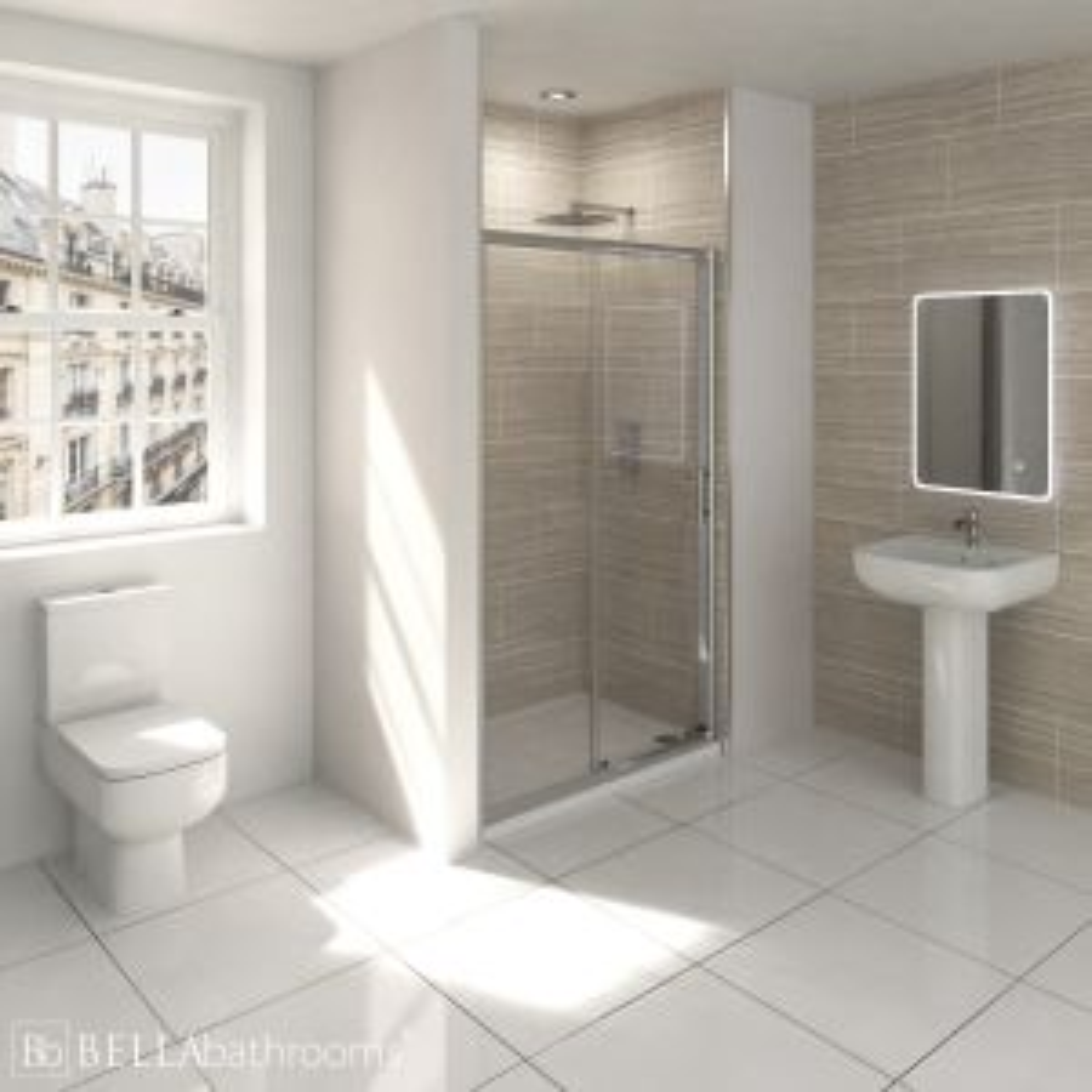 RAK Series 600 En-Suite Bathroom with Pacific Sliding Shower Enclosure Recess
