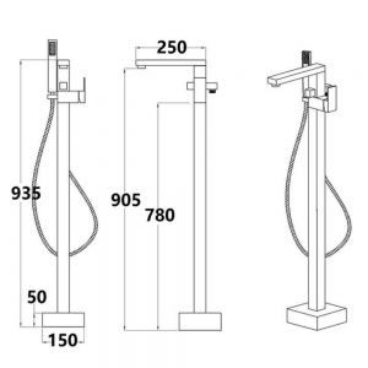 RAK Cubis Freestanding Shower Bath Mixer Tap Measurements