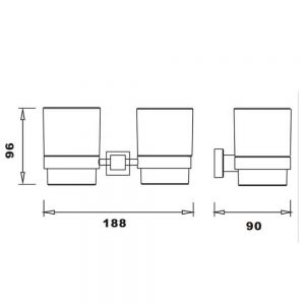 RAK Cubis Double Wall Mounted Tumbler Measurements