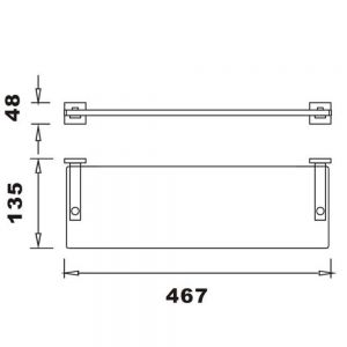 RAK Cubis Glass Shelf Measurements