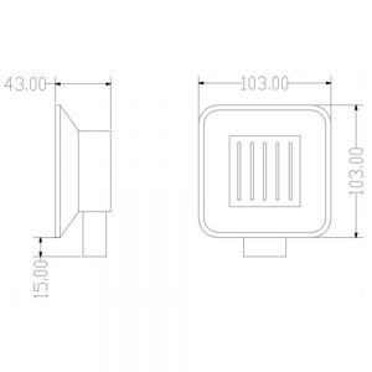 RAK Moon Black Square Wall Mounted Soap Dish Measurements