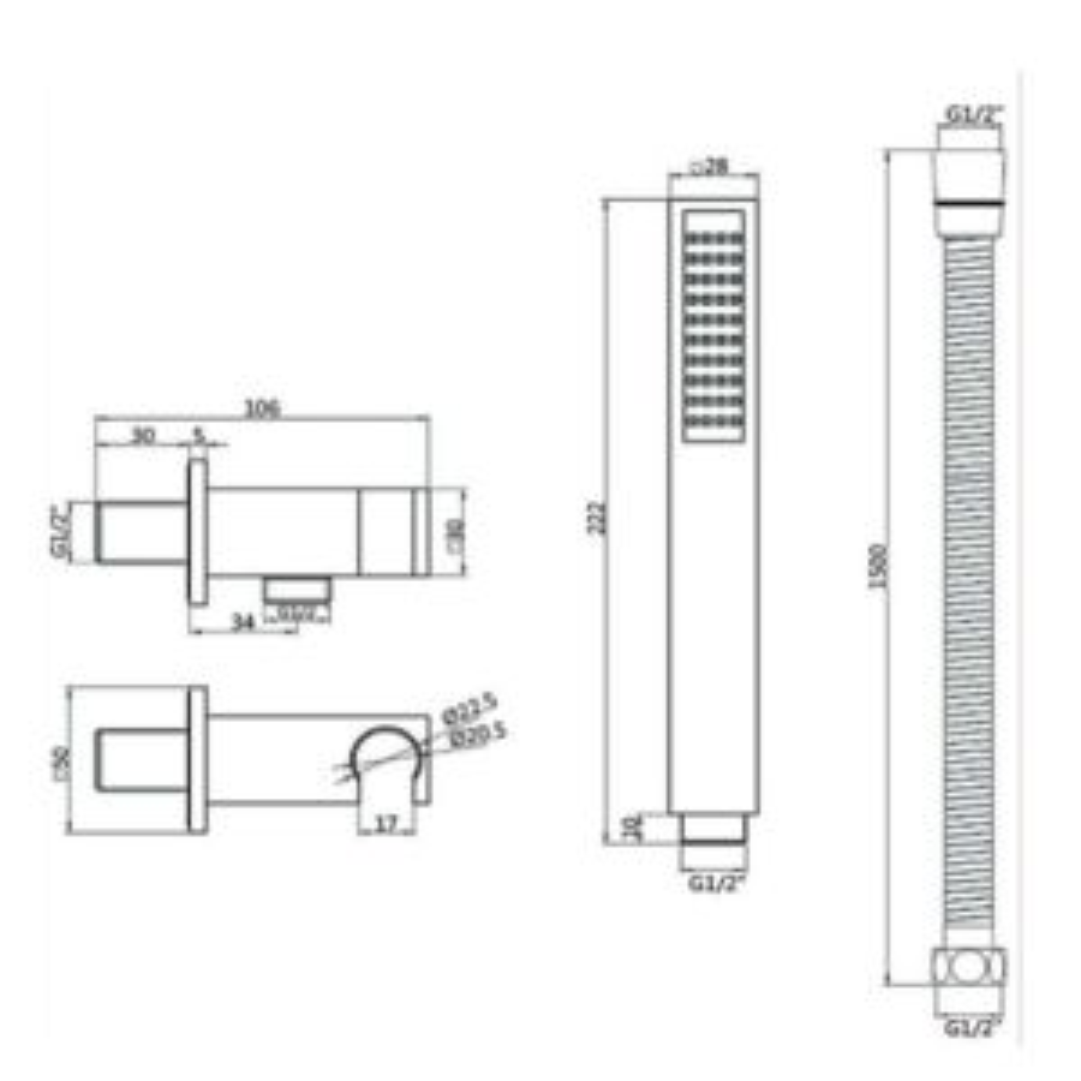 RAK Chrome Round Shower Handset with Bracket Kit Measurements