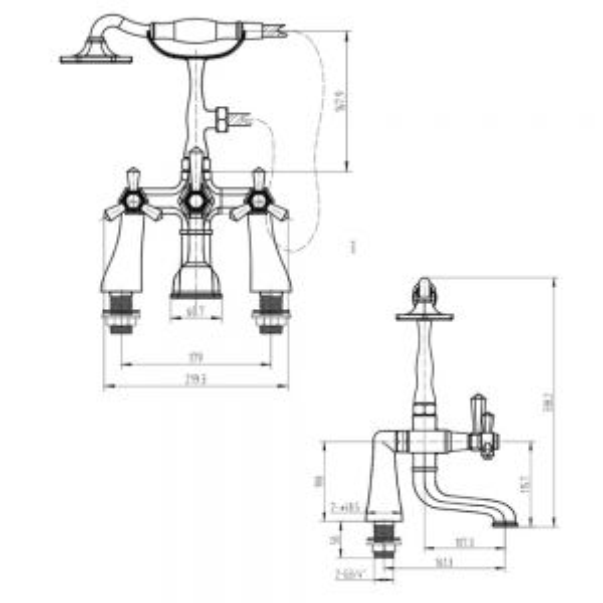 RAK Washington Chrome 2 Tap Hole Shower Bath Mixer Tap Measurements